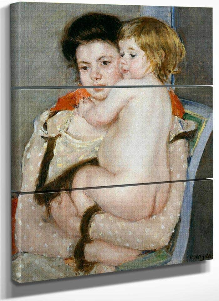 Reine Lefebvre Holding A Nude Baby (Mother And Child) By Cassatt Mary