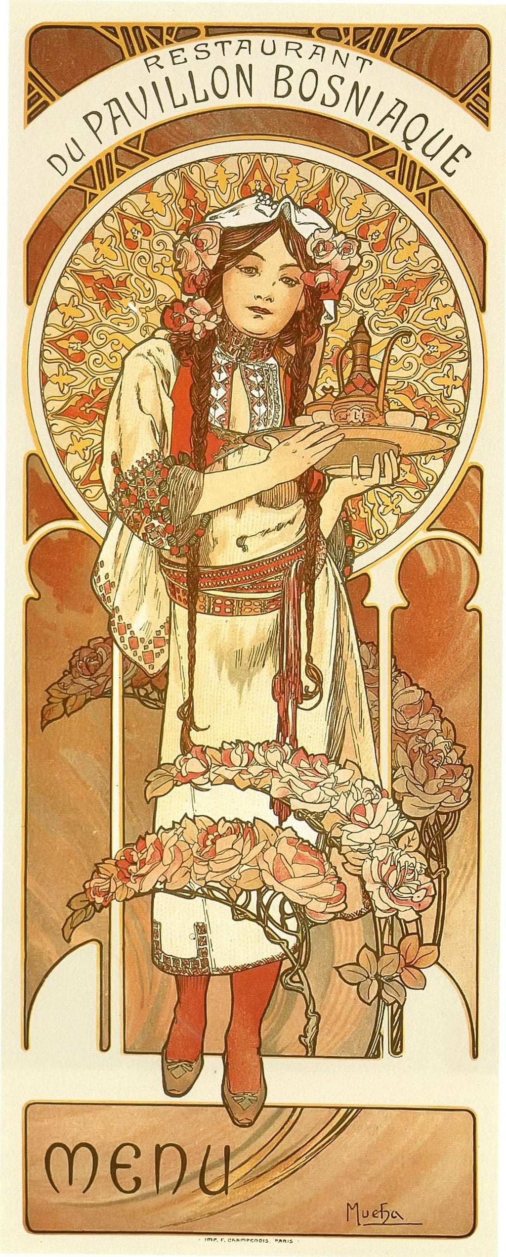 Restaurant Du Pavillion Bosniaque Menu by Alphonse Mucha