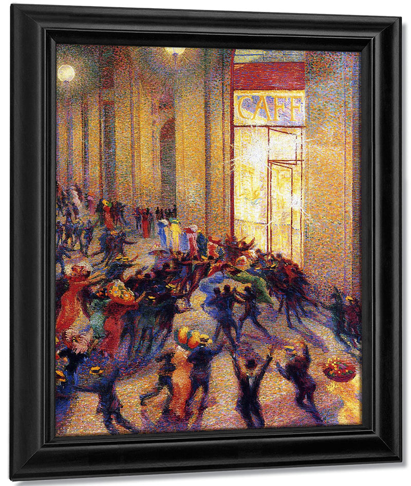 Riot In The Galleria 1909 Oil On Canvas 64X76Cm Pinacoteca Di Brera Milan By Umberto Boccioni
