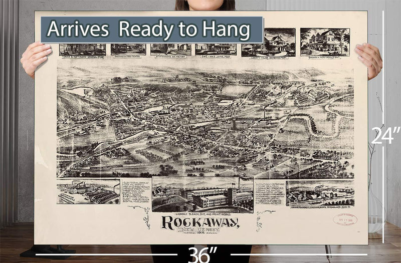 Rockaway New Jersey Vintage Map