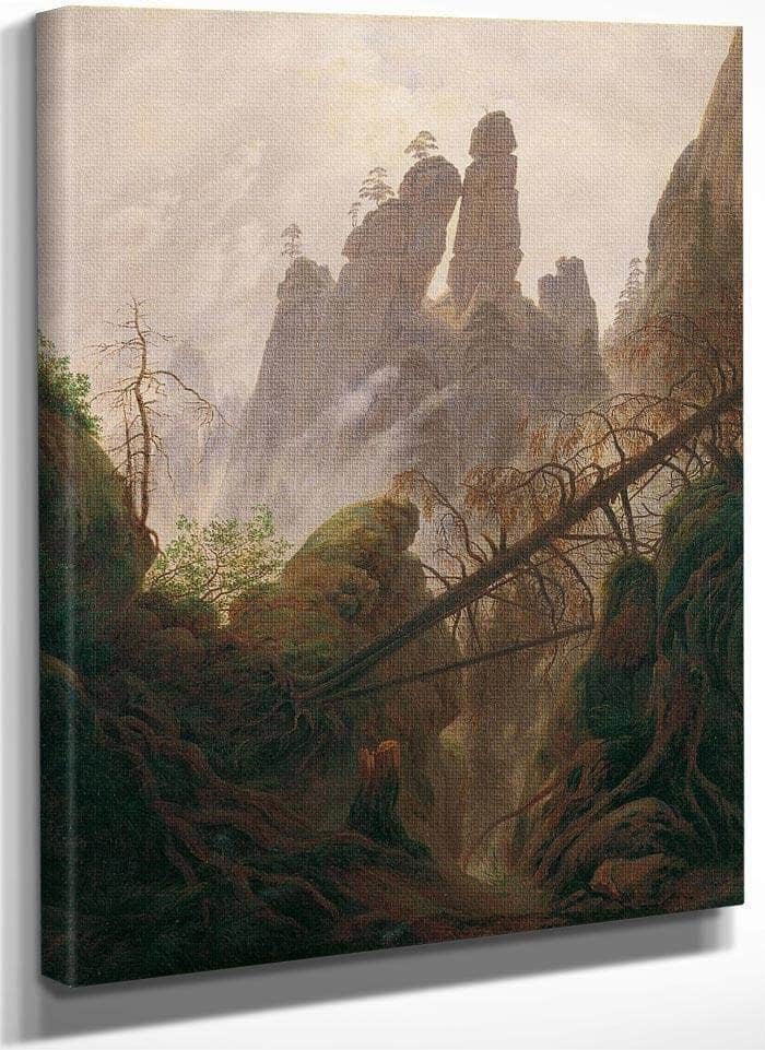 Rocky Ravine In The Elbe Sandstone Mountains 1823 By Caspar David Friedrich