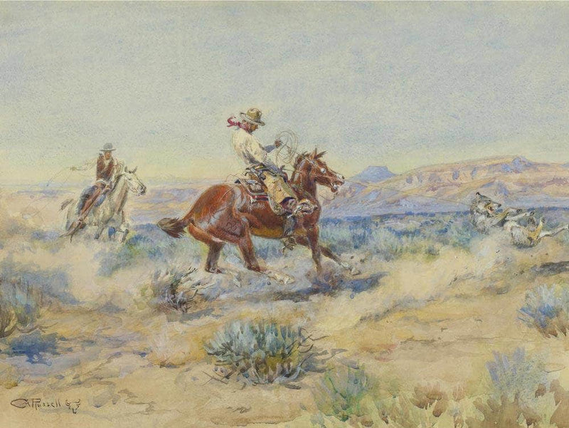 Roping A Wolf By Charles Marion Russell