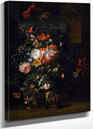 Roses Convolvulus Poppies And Other Flowers 1680 By Rachel Ruysch