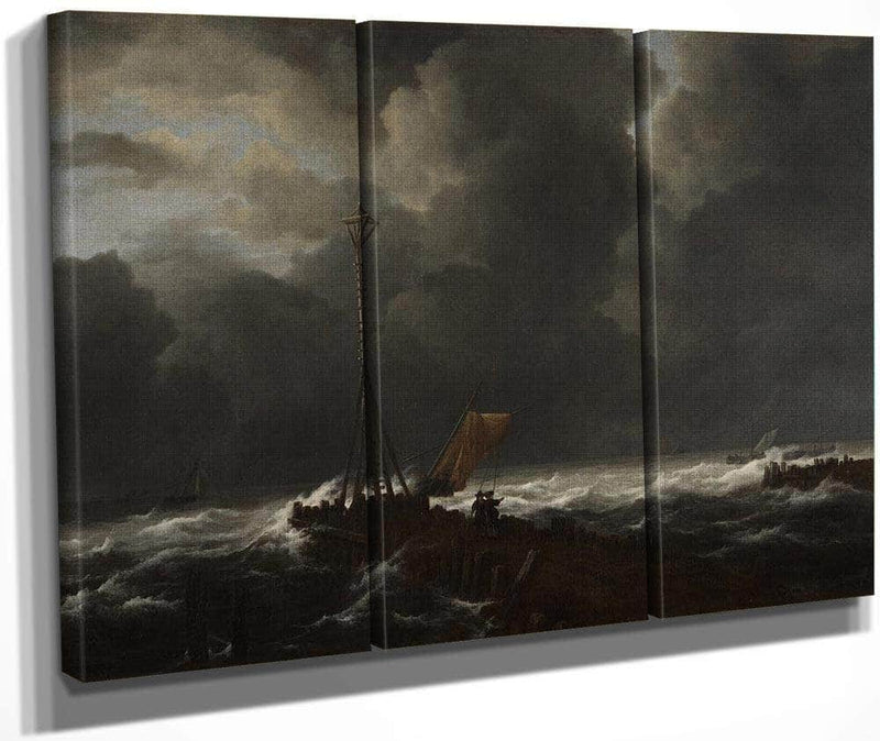 Rough Sea At A Jetty By Jacob Van Ruisdael
