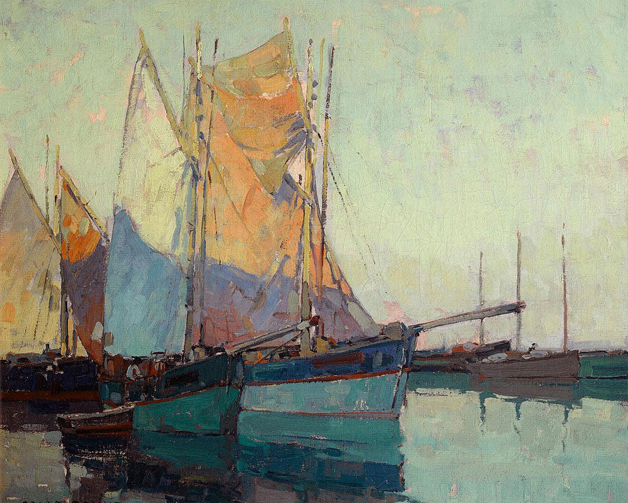 Sailboats At Anchor By Edgar Payne