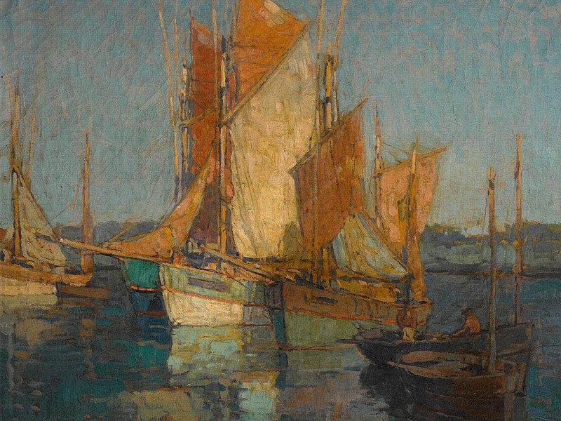 Sailboats In Harbor By Edgar Paynev