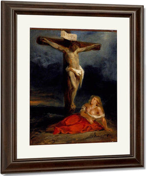 Saint Mary Magdalene At The Foot Of The Cross By Eugene Delacroix