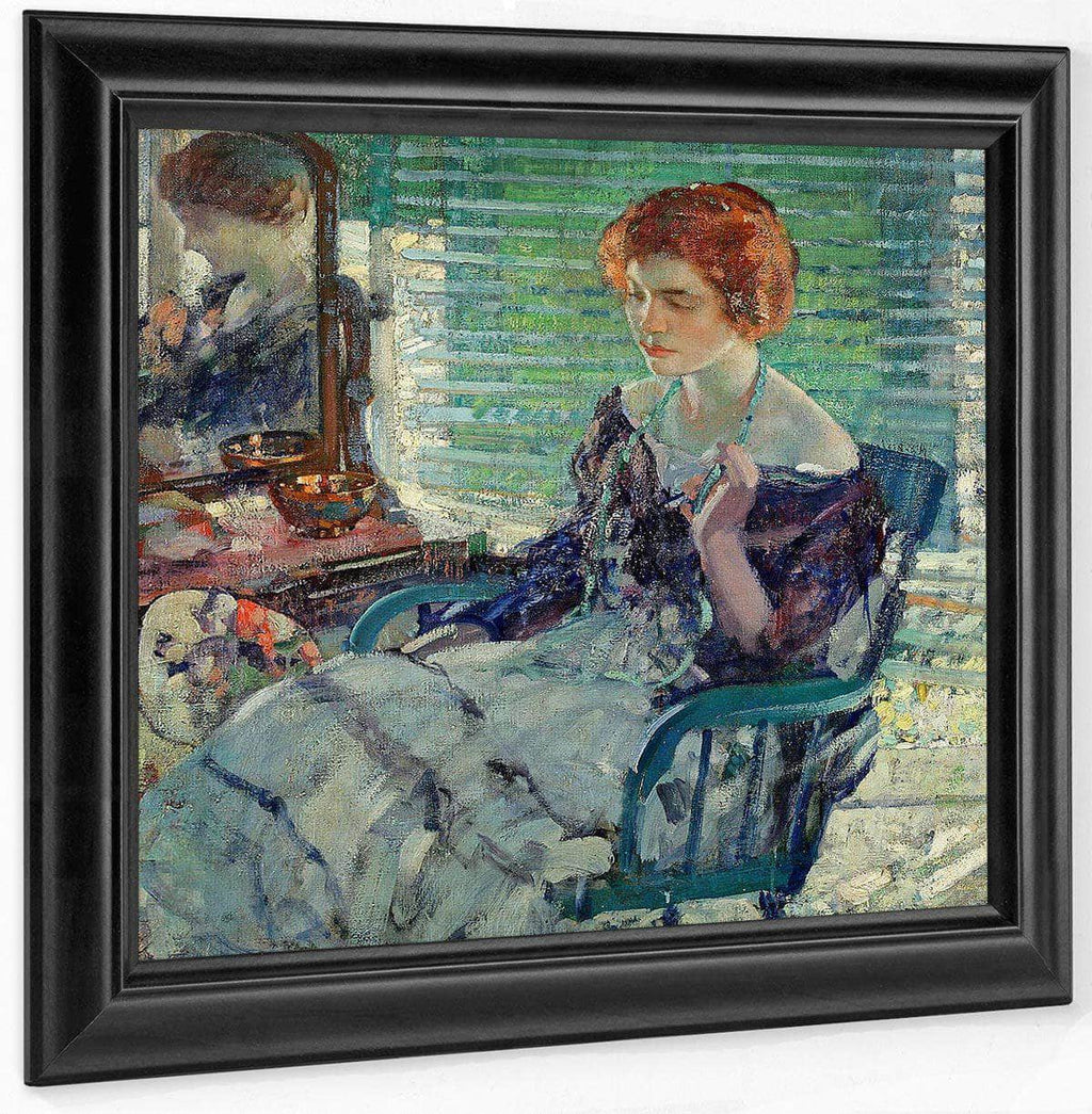 Seated Lady With Red Hair By Richard Edward Miller