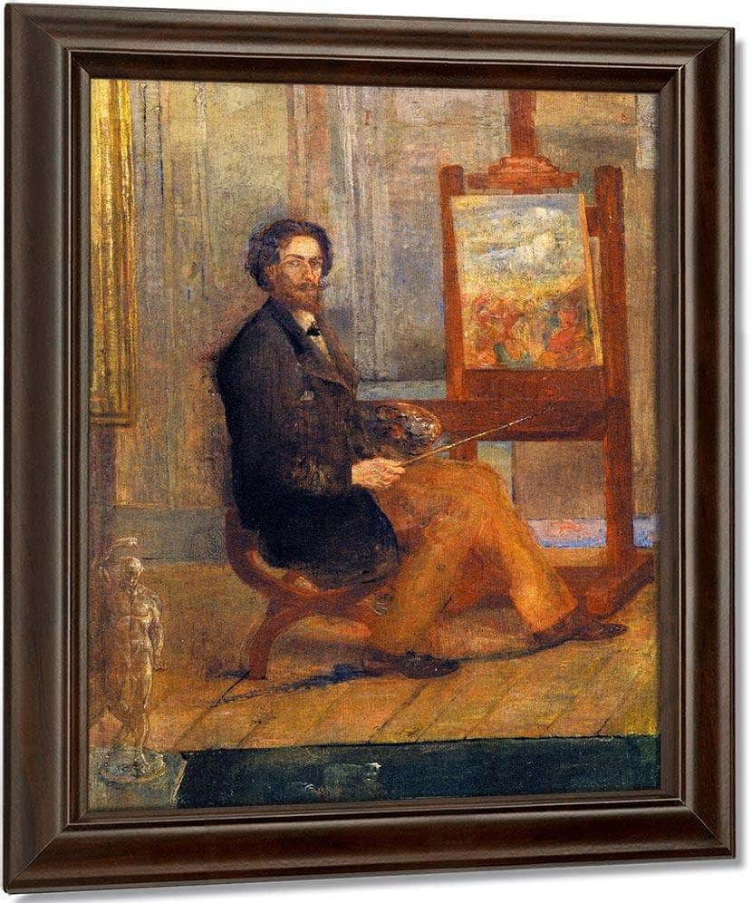 Self Portrait At The Easel By James Ensor