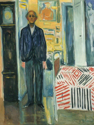 Self Portrait Between Clock And Bed 194042 By Edvard Munch