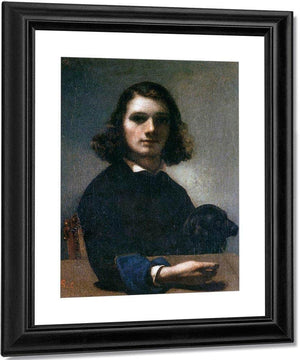 Self Portrait Courbet With Black Dog By Gustave Courbet