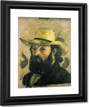 Self Portrait In A Straw Hat By Cezanne Paul