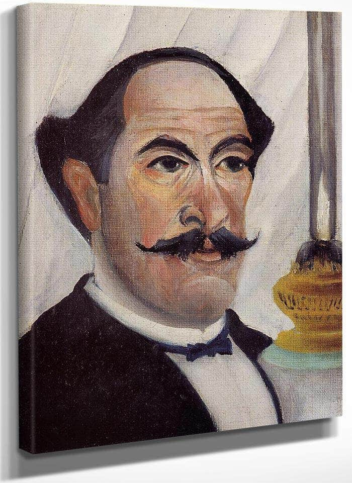 Self Portrait Of The Artist With A Lamp By Henri Rousseau