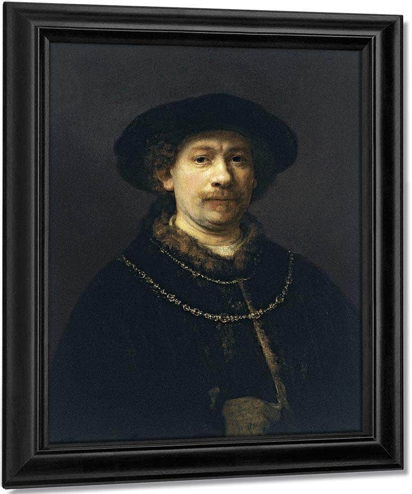 Self Portrait With A Hat And Two Chains By Rembrandt