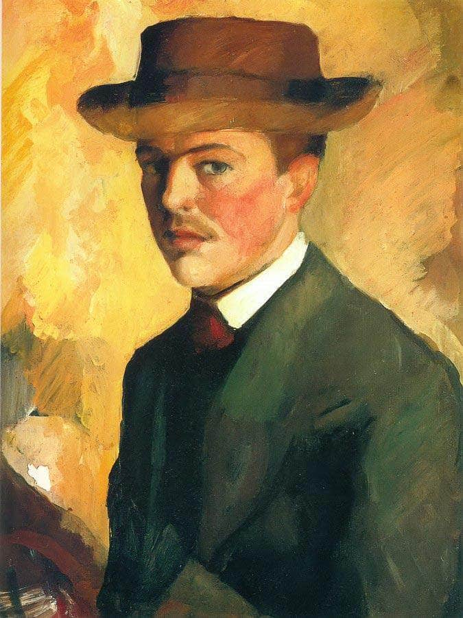 Self Portrait With A Hat By August Macke