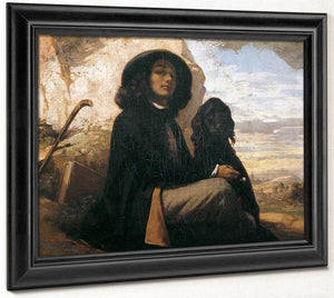 Self Portrait With Black Dog By Gustave Courbet