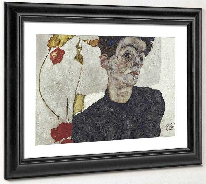 Self Portrait With Chinese Lantern Plant 2 By Egon Schiele