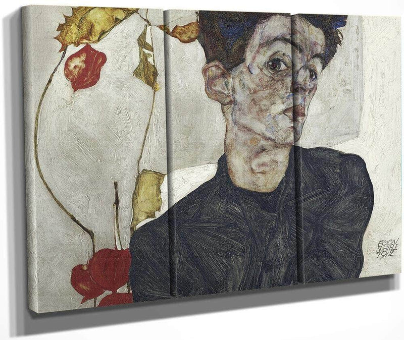Self Portrait With Chinese Lantern Plant By Egon Schiele