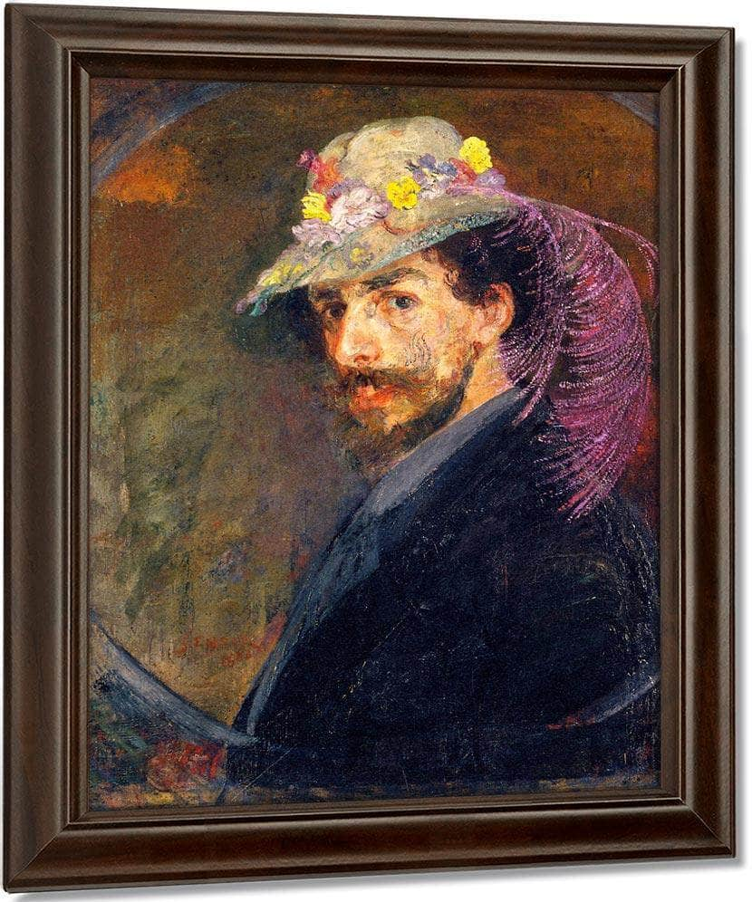 Self Portrait With Flowered Hat By James Ensor
