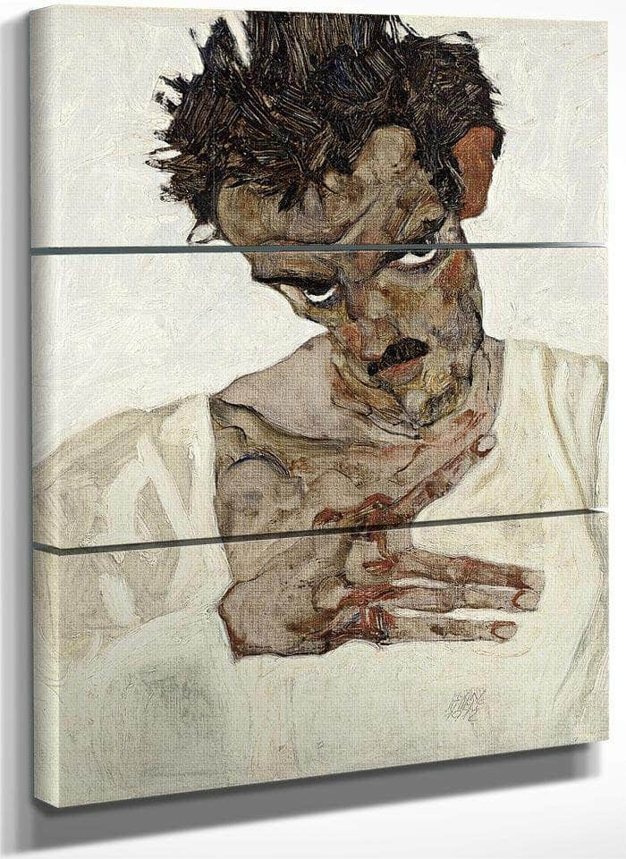 Self Portrait With Lowered Head By Egon Schiele