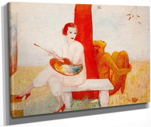 Self Portrait With Palette Painter And Faun By Florine Stettheimer