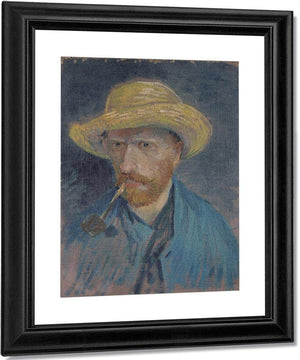 Self Portrait With Straw Hat And Pipe By Vincent Van Gogh