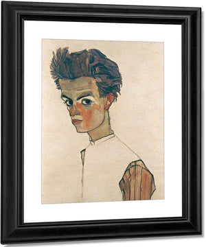 Self Portrait With Striped Shirt By Egon Schiele