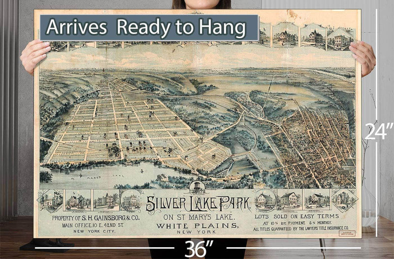 Silver Lake Park On St Mary's Lake White Plains New York Vintage Map