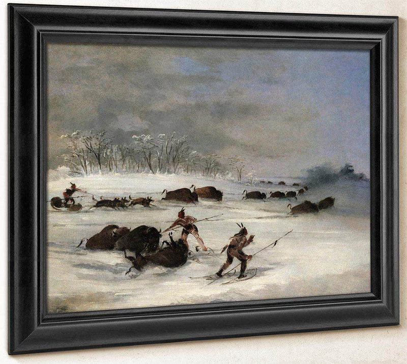 Sioux Indians On Snowshoes Lancing Buffalo By George Catlin