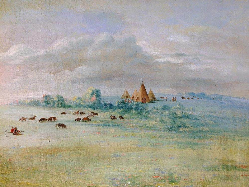 Sioux Village, Lake Calhoun, Near Fort Snelling By George Catlin