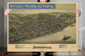 Sistersville West Virginia 1896 Vintage Map