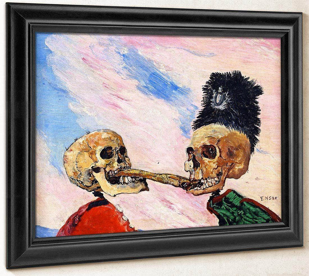 Skeletons Fighting Over A Picked Herring By James Ensor