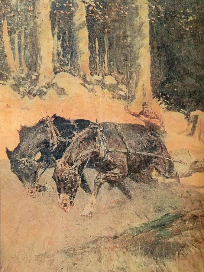 Snaking Logs To The Skidway By Frederic Remington