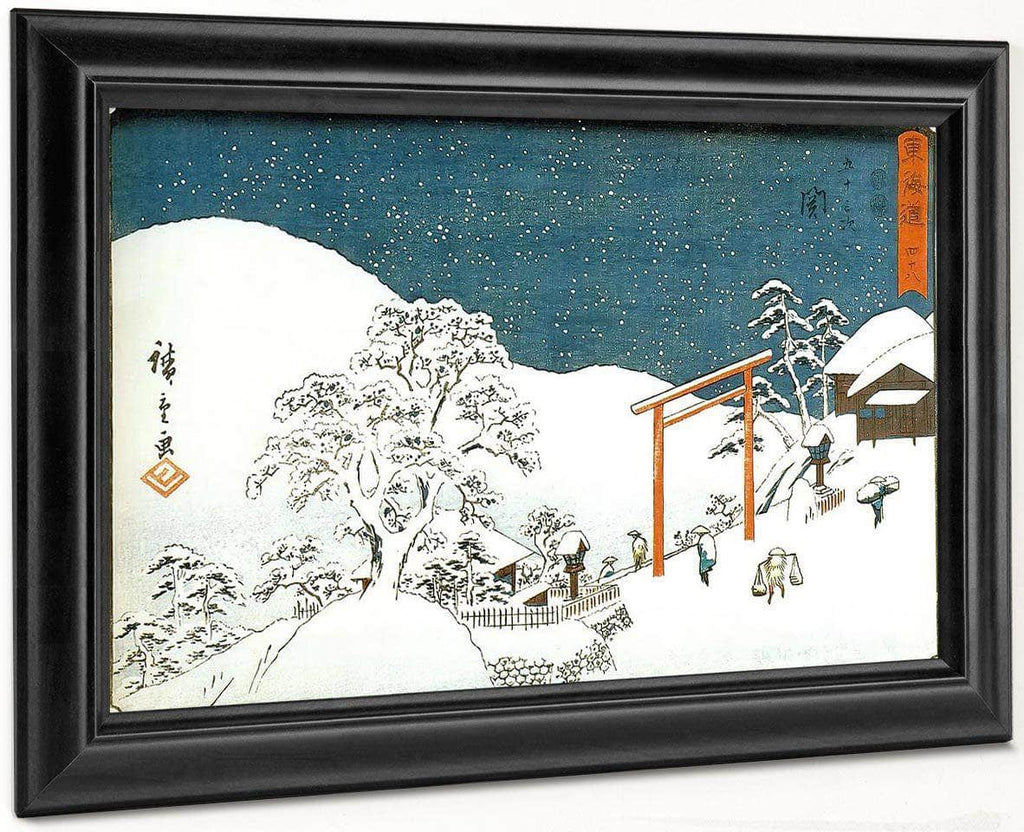 Snow Landscape With Gate By Hiroshige