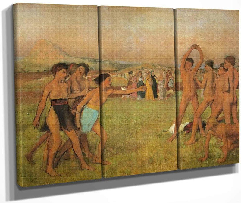 Spartan Girls And Boys Exercising By Edgar Degas