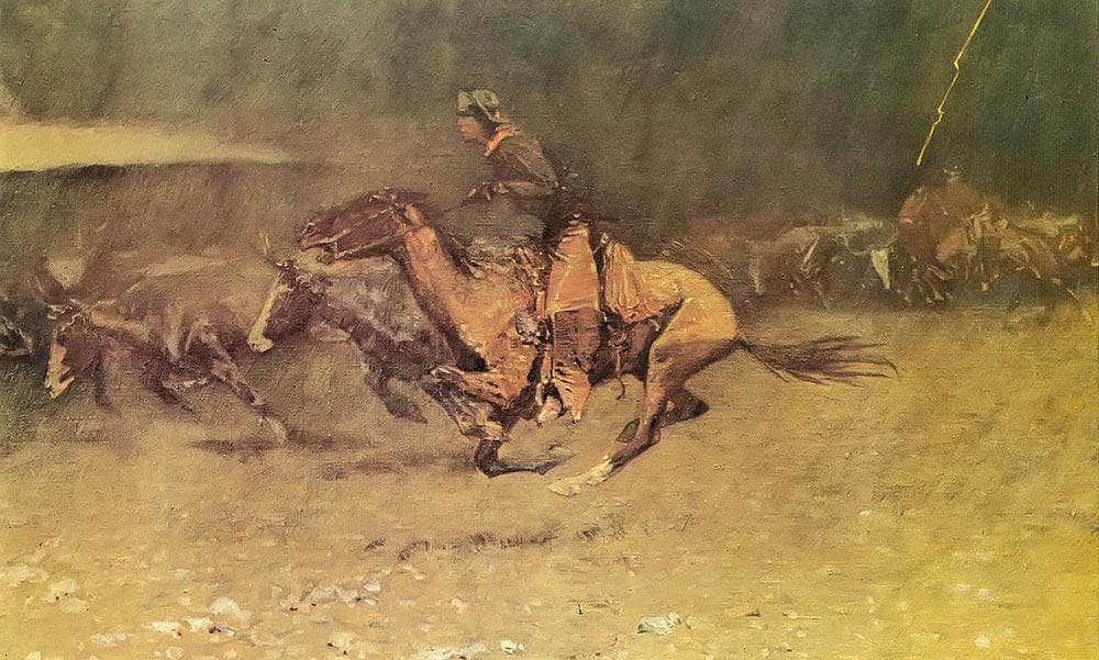 Stampeded By Lightning Aka The Stampede By Frederic Remington