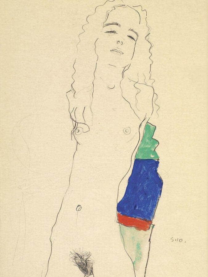 Standing Female Nude By Egon Schiele