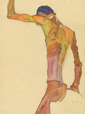 Standing Male Nude With Arm Raised Back View By Egon Schiele
