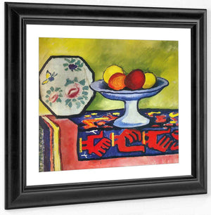 Stil Life With Apple Bowl And Japanese Plate By August Macke