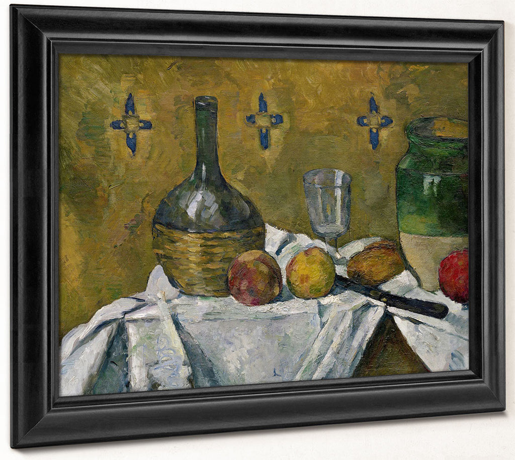 Still Life  Flask, Glass And Jugs By Paul Cezanne
