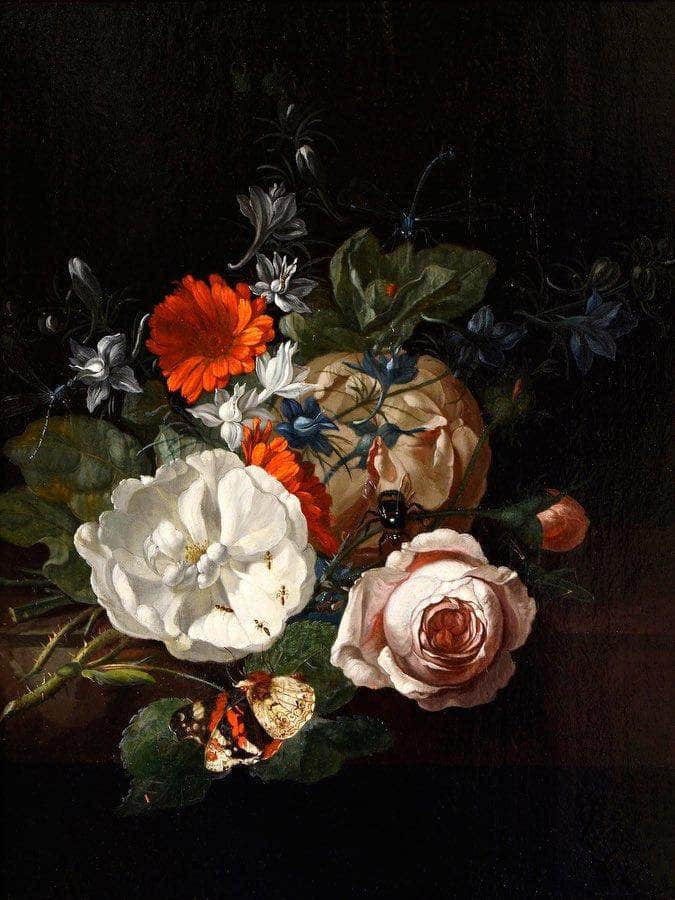 Still Life Of Flowers On A Table Ledge 1700 By Rachel Ruysch