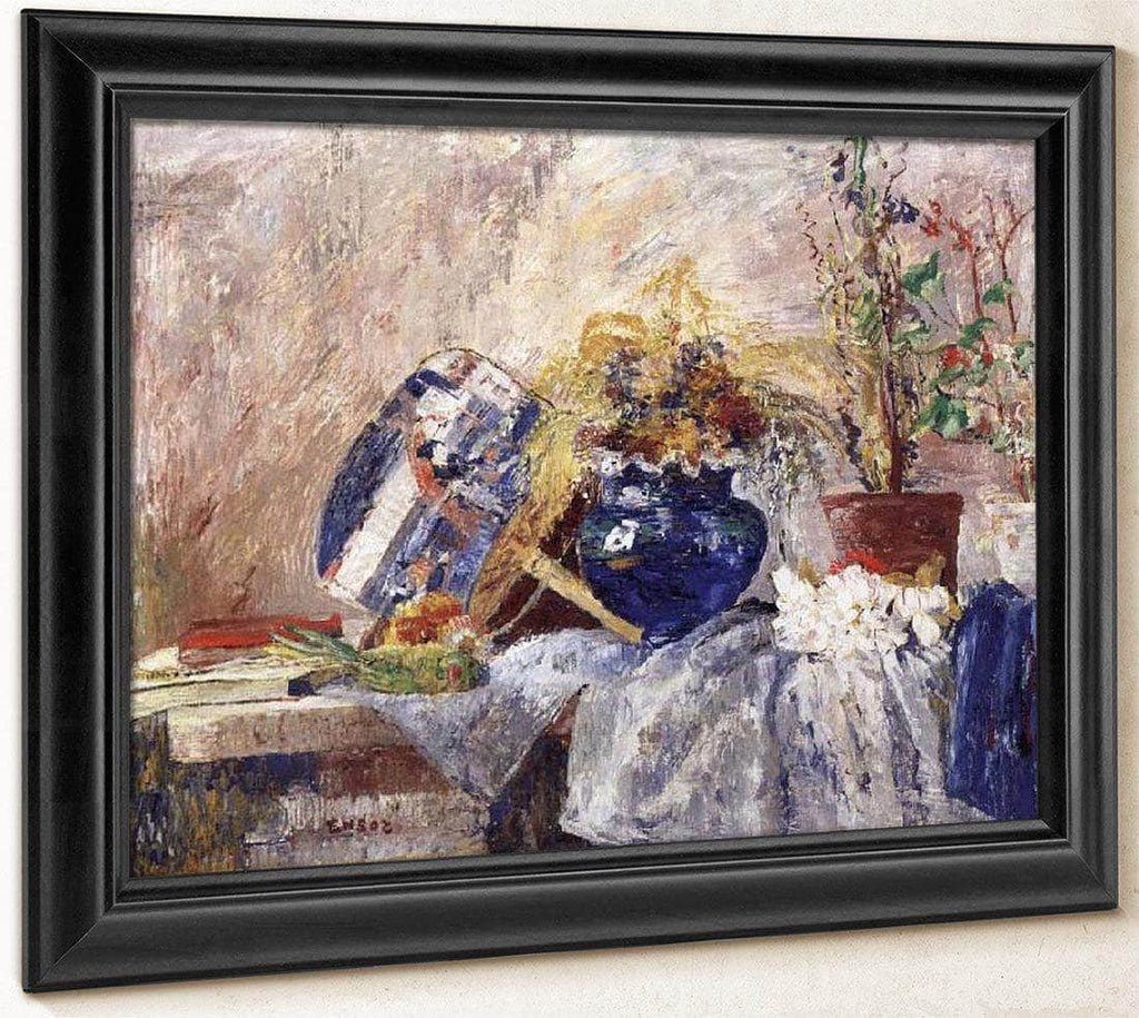Still Life With Blue Vase And Fan By James Ensor