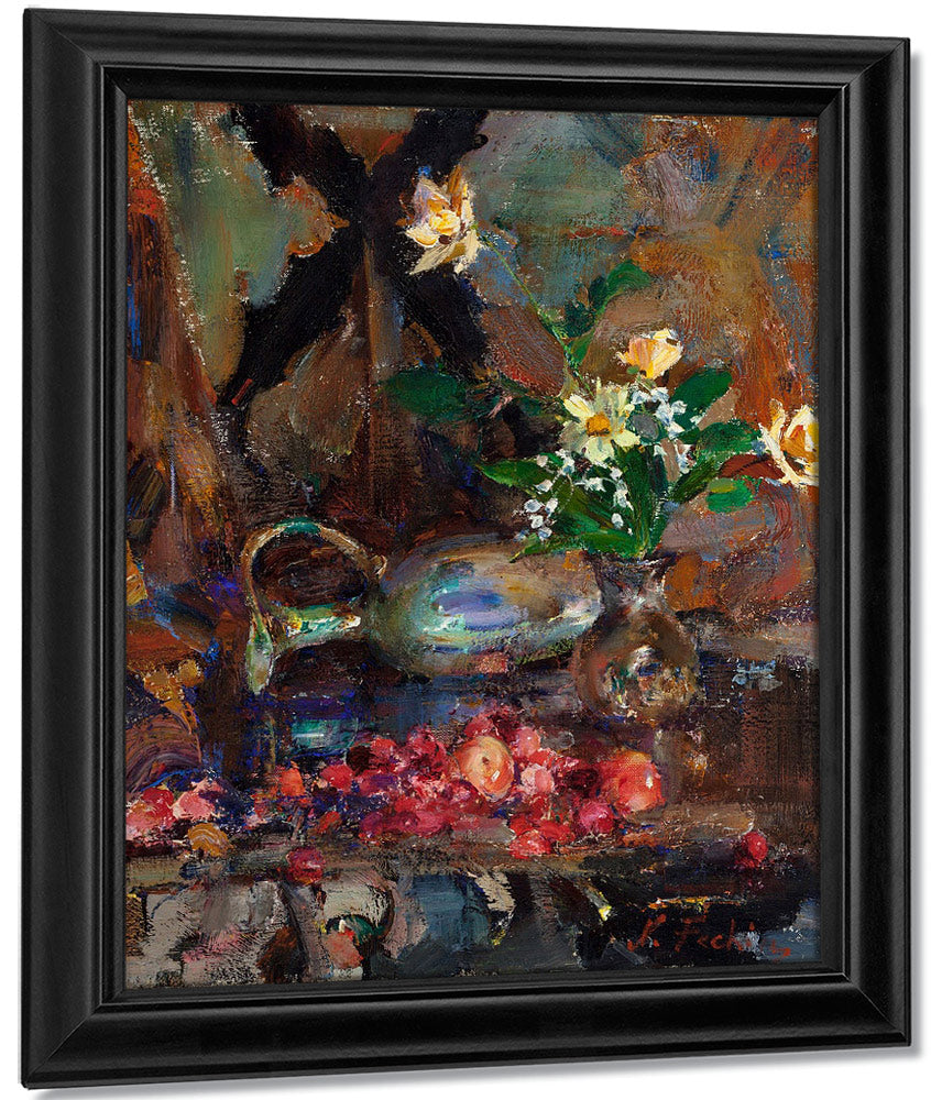 Still Life With Cherries Pitcher And Bouquet By Bruce Crane