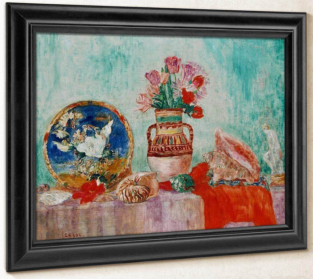 Still Life With Flowers And Shells By James Ensor