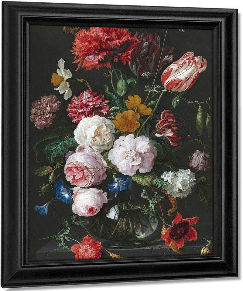 Still Life With Flowers In A Glass Vase By Jan Davidsz De Heem