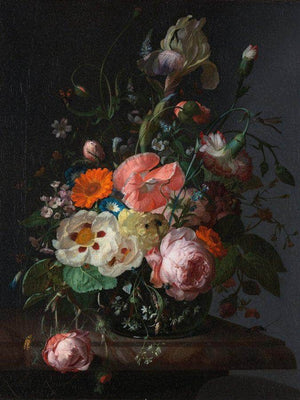 Still Life With Flowers On A Marble Tabletop 1716 By Rachel Ruysch