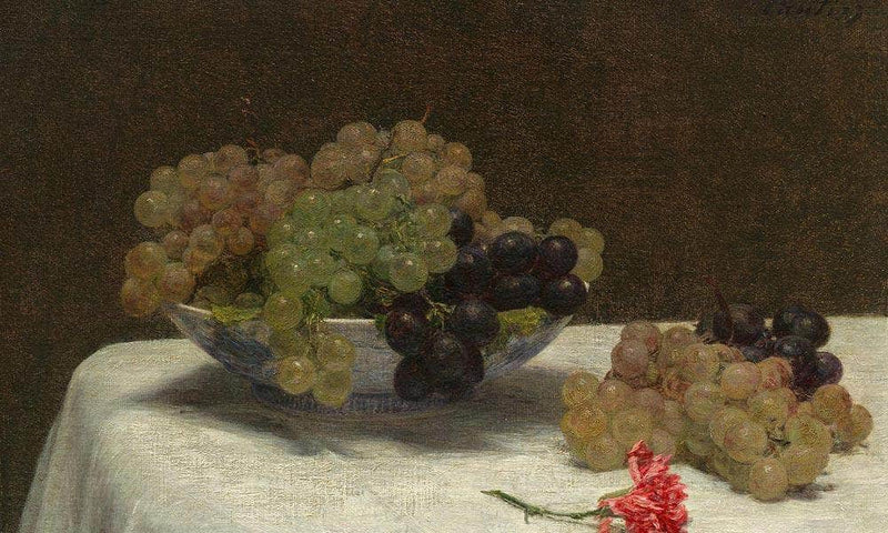 Still Life With Grapes And A Carnation By Henri Fantin Latour