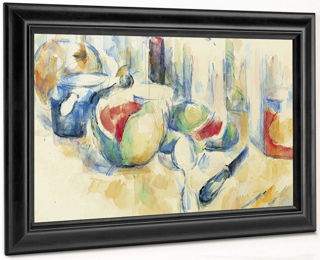 Still Life With Sliced Open Watermelon By Paul Cezanne