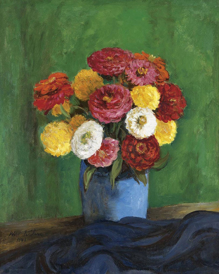Still By Life By With By Zinnias By In By A By Blue By Vase By Walt Kuhn