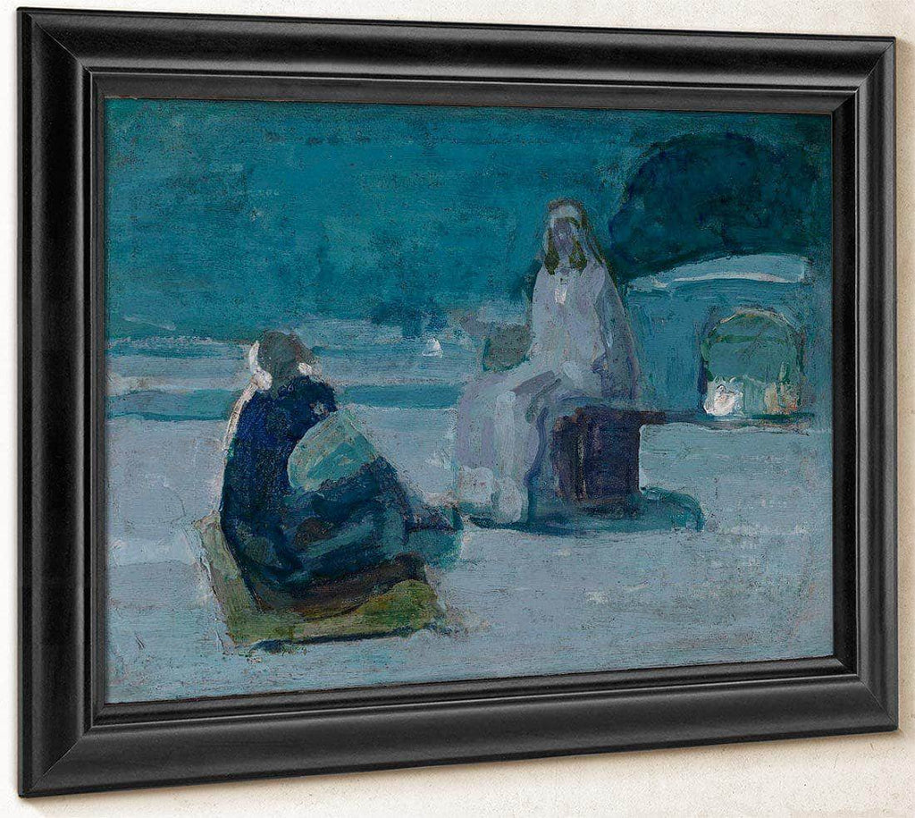Study For Christ And Nicodemus On A Rooftop By Henry Ossawa Tanner